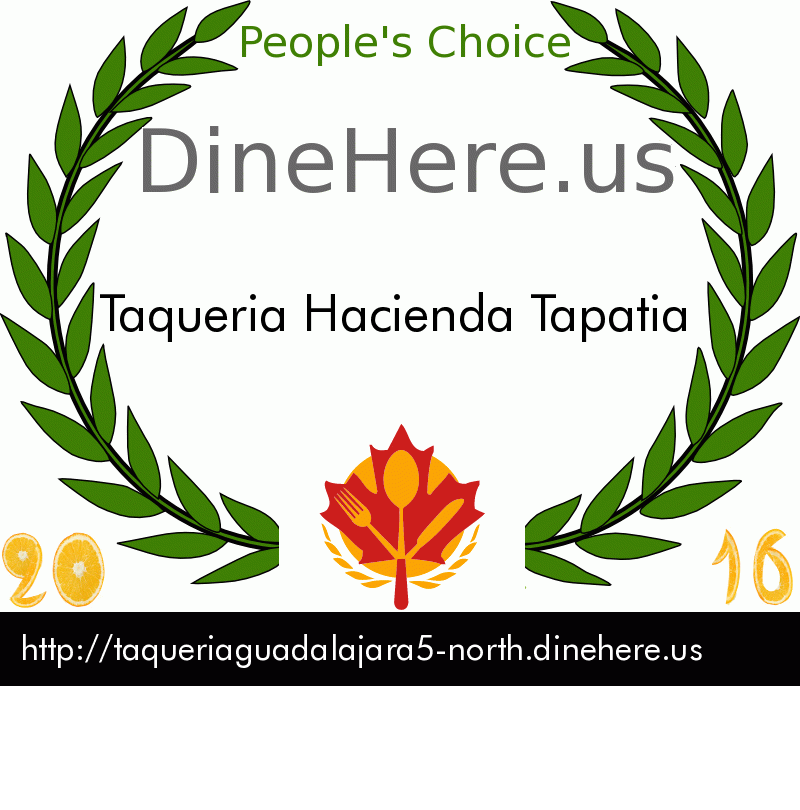 Taqueria Hacienda Tapatia DineHere.us 2016 Award Winner